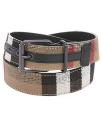 Burberry Black Haymarket Check Leather And Canvas 'Cory' Belt - Lyst