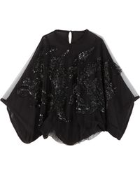 Elie Saab Beaded Butterfly Sleeve Top - Lyst