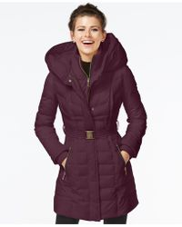 Kensie - Knit-trim Quilted Puffer Coat - Lyst