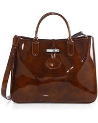 Longchamp Roseau Medium Patentleather Box Tote - Lyst