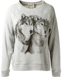 Sea Light Grey Wolf Printed Cotton Sweater - Lyst