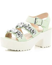 River Island Green Chunky Gem Embellished Sandals - Lyst