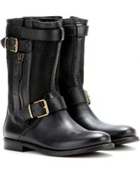 Burberry Brit Grantville Leather Biker Boots - Lyst