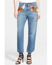 Christopher Kane Embroidered Boyfriend Jeans - Lyst