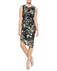 McQ by Alexander McQueen Smocked/Ruched Festival Floral Georgette Sheath Dress - Lyst