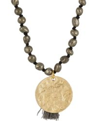 Ashiana - Women's Pyrite Necklace With Disc Pendant - Lyst