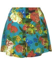 Topshop Silk Botanical Flippy Shorts By Boutique - Lyst