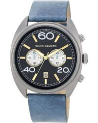 Vince Camuto - Mens Light Blue Leather Strap Watch 44mm Vc - Lyst