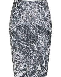 McQ by Alexander McQueen Foil Lamb Leather Zip Skirt silver - Lyst