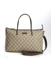 Gucci Beige and Cocoa Gg Canvas Convertible Tote Bag - Lyst