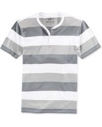 American Rag Trio-Striped Henley T-Shirt - Lyst