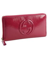 Gucci Bouganvillea Patent Leather Gg Zip Continental Wallet - Lyst