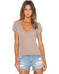 James Perse High Gauge Jersey Deep V-Neck T-Shirt brown - Lyst