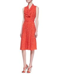 Carolina Herrera Sleeveless Neck-tie Dot Silk Dress - Lyst