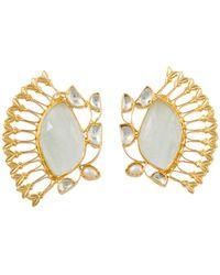 Kasturjewels 22Kt Gold Art Deco Heritage Fan Earrings - Lyst