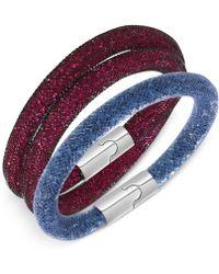 Swarovski Palladium-tone Stardust Fuchsia and Montana Bracelet Set - Lyst
