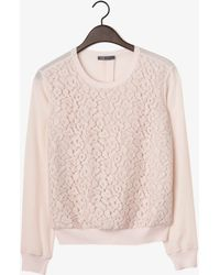 Vince Lace Overlay Crew Neck Blouse - Lyst