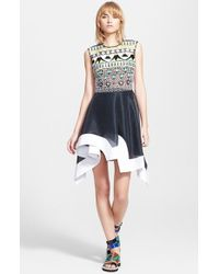Peter Pilotto 'Tessera' Embroidered Asymmetrical Fit & Flare Dress - Lyst