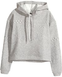 H&M Textured Hooded Top - Lyst