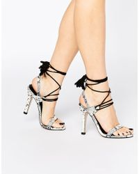Mango - Snake Effect Lace Up Heels - Lyst