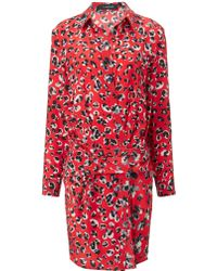 Thakoon Red Silk Banded Shirt Dress - Lyst