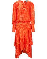 Preen Orange Semi Sheer Silk Naboo Dress - Lyst