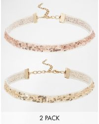 Asos Pack Of 2 Glitter Ribbon Choker Necklaces - Lyst