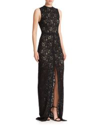 Alice + Olivia Gisela High Slit Lace Gown black - Lyst