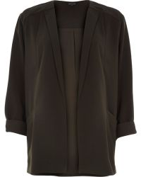 River Island Khaki Crepe Relaxed Fit Jacket - Lyst