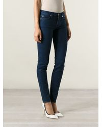 7 For All Mankind Blue Skinny Jeans - Lyst