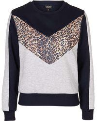 Topshop | Animal Colourblock Sweatshirt | Lyst