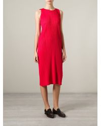 Pleats Please Issey Miyake Red Pleated Dress - Lyst