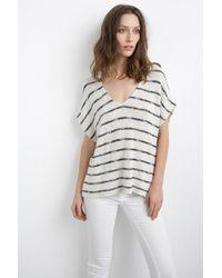 Velvet By Graham & Spencer Ivo Cotton Crochet Short-Sleeve Dolman Top black - Lyst