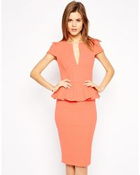 Asos Sexy Pencil Dress with Peplum - Lyst