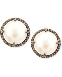 Siena Jewelry - Pearl And Diamond Bezel Stud Earrings - Lyst
