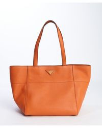 Prada Papaya Orange Leather Wide Top Handle Tote - Lyst
