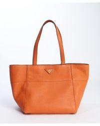 Prada Papaya Orange Leather Wide Top Handle Tote - Lyst