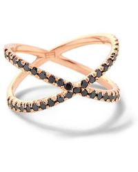 Eva Fehren - Shorty Ring With Black Diamonds - Lyst