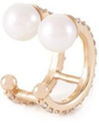 Paige Novick - 2 Row Diamond Pave Ear Cuff With Two Pearl Details - Lyst