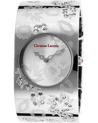 Christian Lacroix - Womens Silvertone Steel Bracelet Silvertone Flower Designed Dial - Lyst