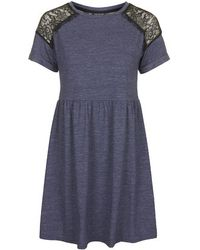 Topshop Petite Lace Insert Flippy Dress - Lyst