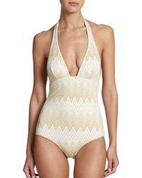 Shoshanna One-Piece Halter Swimsuit gold - Lyst