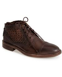Donald J Pliner 'Zafar' Basket Weave Zip Boot brown - Lyst