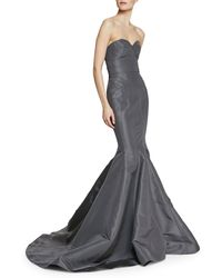 Zac Posen Strapless Seamed Trumpet Gown In Silk - Lyst