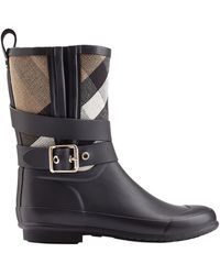 Burberry Holloway Rubber Rain Boots black - Lyst