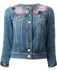 Christopher Kane Floral Broderie Denim Jacket - Lyst