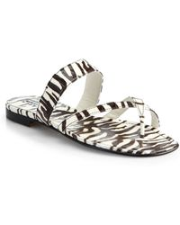 Manolo Blahnik Snake-Embossed Patent Leather Sandals - Lyst