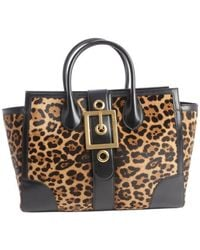 Gucci Gold and Black Printed Calf Hair Buckle Front Tote - Lyst
