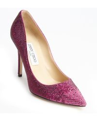 Jimmy Choo Pink Suede Crystal Studded 'Tania' Pumps - Lyst