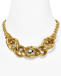 T Tahari On The Edge Gold Chain Link Multi-stone Necklace, 17""